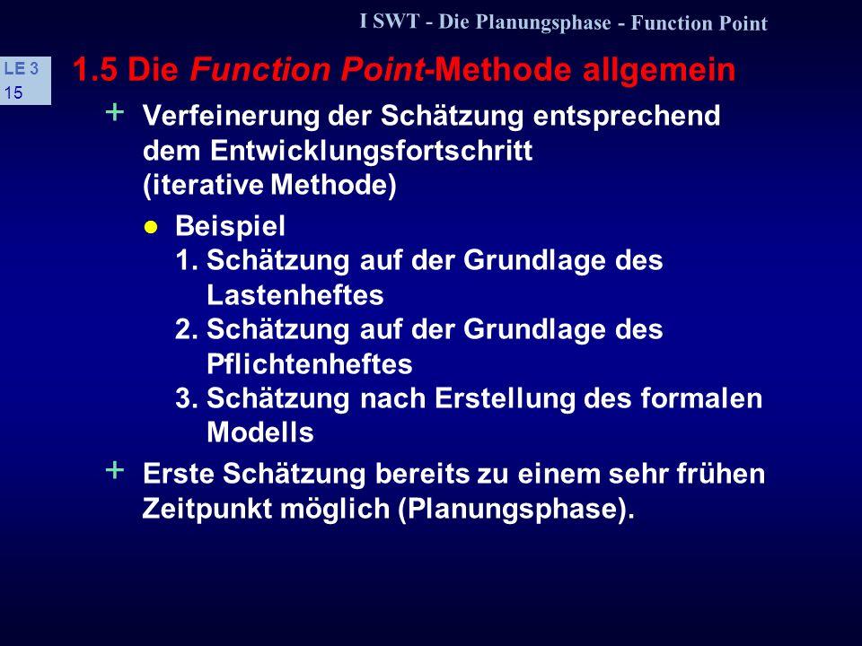 I SWT - Die Planungsphase - Function Point LE 3 14 1.5 Die Function Point-Methode allgemein s Vorteile + Ausgangspunkt sind Produktanforderungen, nich