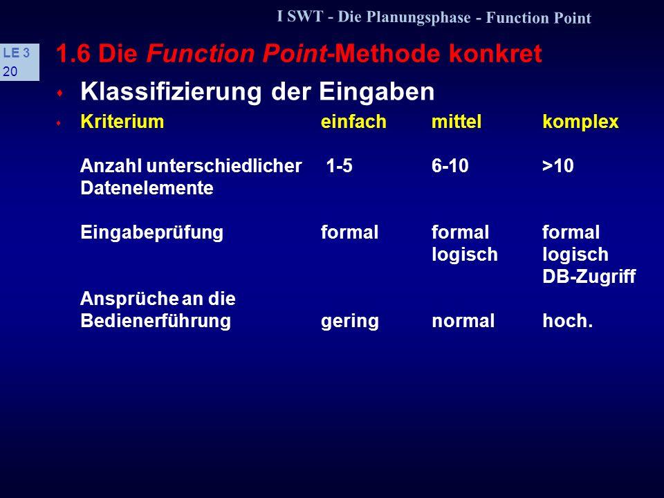 I SWT - Die Planungsphase - Function Point LE 3 19 1.6 Die Function Point-Methode konkret Voraussetzungen s KriteriumIBMVW Überwiegend zentrale intern