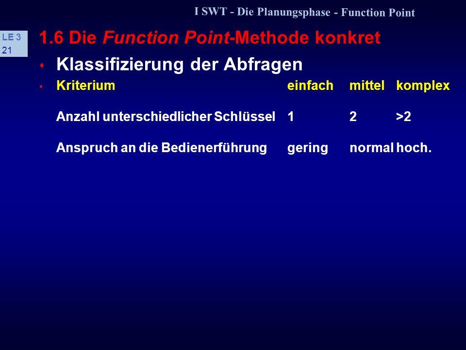 I SWT - Die Planungsphase - Function Point LE 3 20 1.6 Die Function Point-Methode konkret s Klassifizierung der Eingaben s Kriteriumeinfachmittelkompl