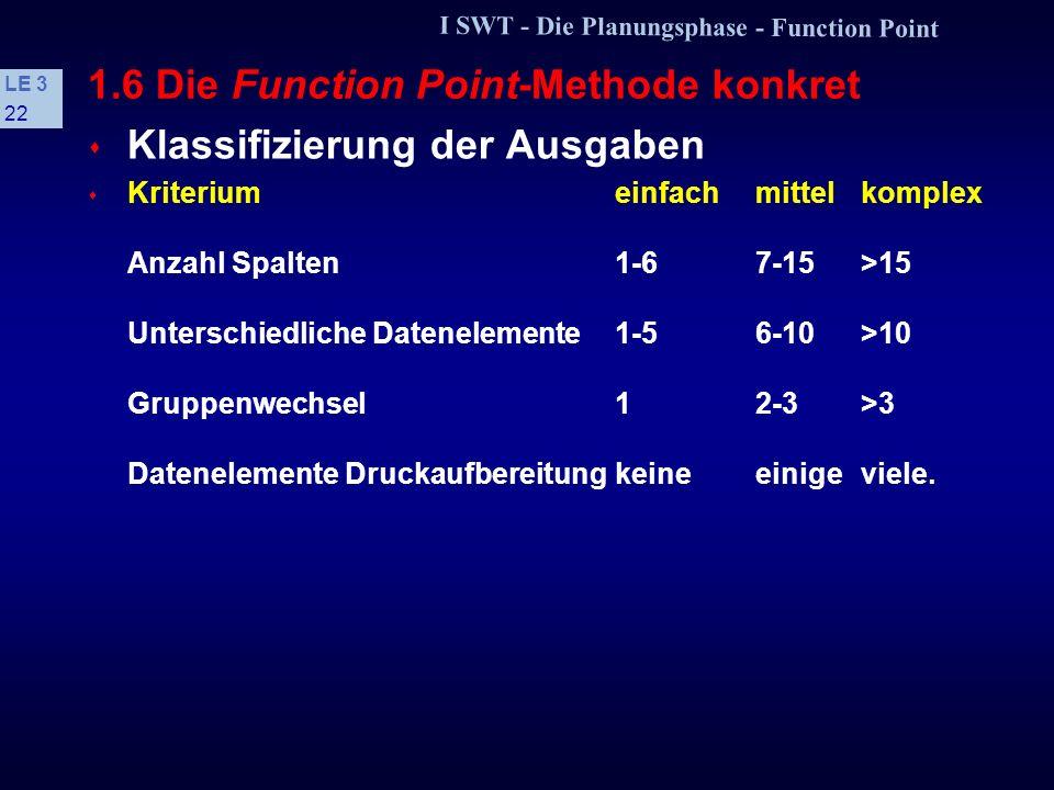 I SWT - Die Planungsphase - Function Point LE 3 21 1.6 Die Function Point-Methode konkret s Klassifizierung der Abfragen s Kriteriumeinfachmittelkompl