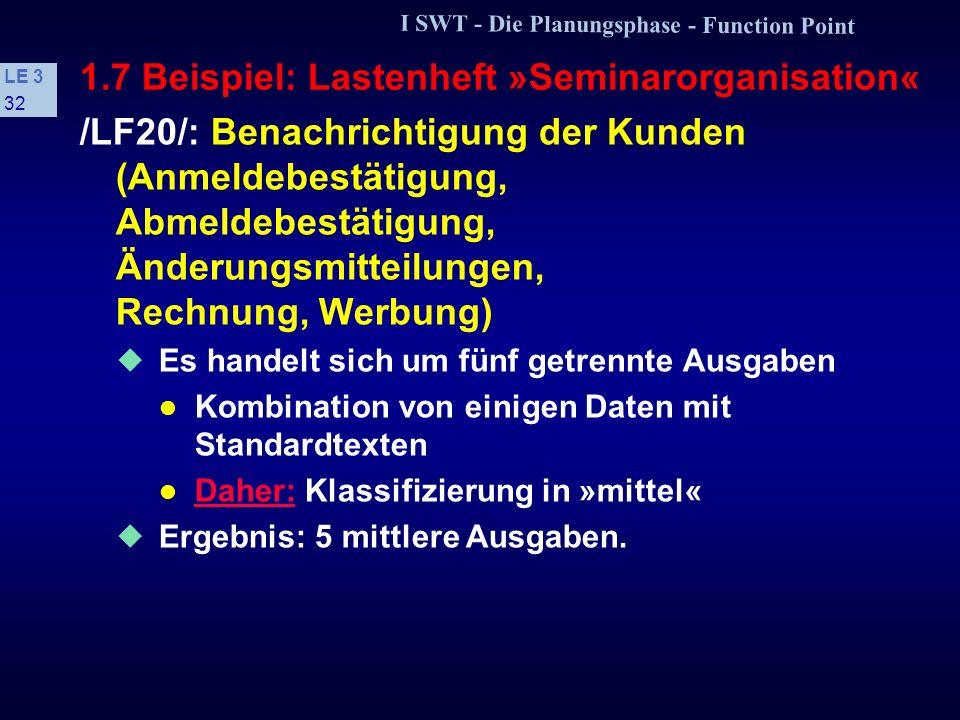 I SWT - Die Planungsphase - Function Point LE 3 31 1.7 Beispiel: Lastenheft »Seminarorganisation« Änderung: Es wird auf die Datenbank lesend und schre