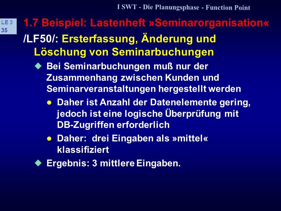 I SWT - Die Planungsphase - Function Point LE 3 34 1.7 Beispiel: Lastenheft »Seminarorganisation« /LF40/: Ersterfassung, Änderung und Löschung von Doz