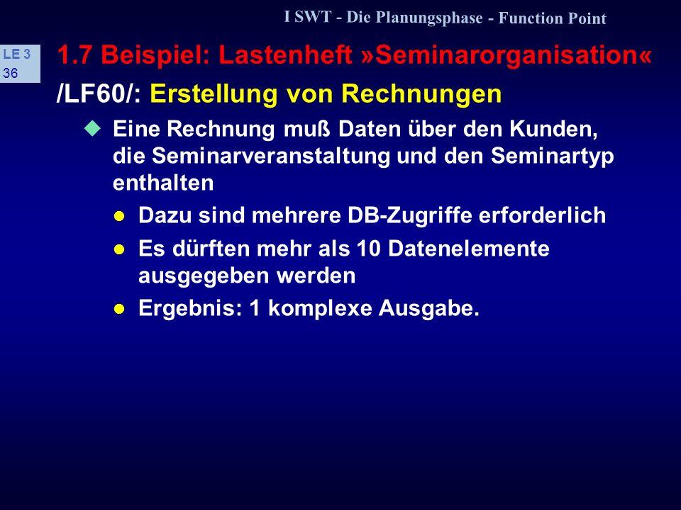 I SWT - Die Planungsphase - Function Point LE 3 35 1.7 Beispiel: Lastenheft »Seminarorganisation« /LF50/: Ersterfassung, Änderung und Löschung von Sem