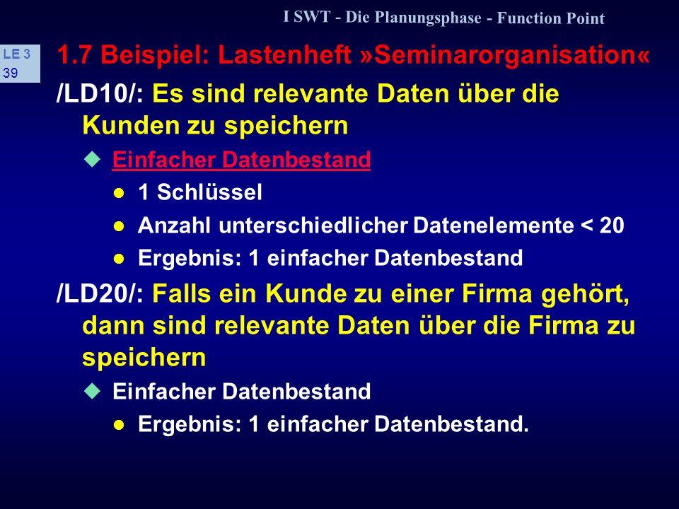 I SWT - Die Planungsphase - Function Point LE 3 38 1.7 Beispiel: Lastenheft »Seminarorganisation« /LF80/: Anfragen der folgenden Art sollen möglich se
