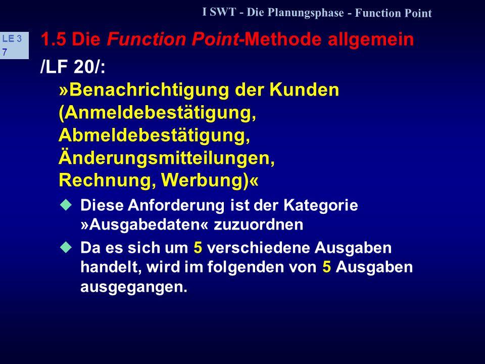 I SWT - Die Planungsphase - Function Point LE 3 6 1.5 Die Function Point-Methode allgemein Kategorien der Function Points 1. Schritt: Jede Anforderung