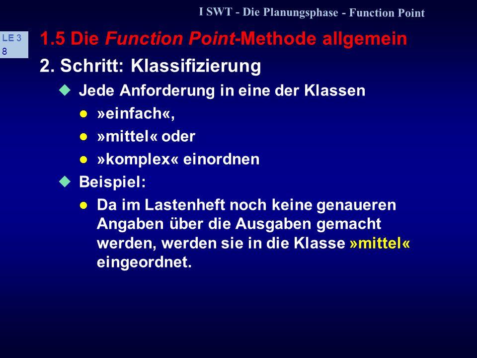 I SWT - Die Planungsphase - Function Point LE 3 7 1.5 Die Function Point-Methode allgemein /LF 20/: »Benachrichtigung der Kunden (Anmeldebestätigung,
