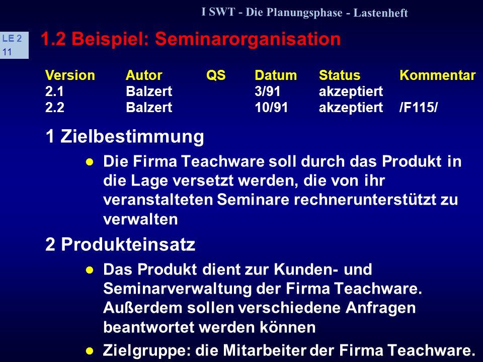 I SWT - Die Planungsphase - Lastenheft LE 2 10 1.2 Beispiel: Aufbau eines Lastenheftes s Gliederungsschema Zielbestimmung Produkteinsatz Produktfunkti