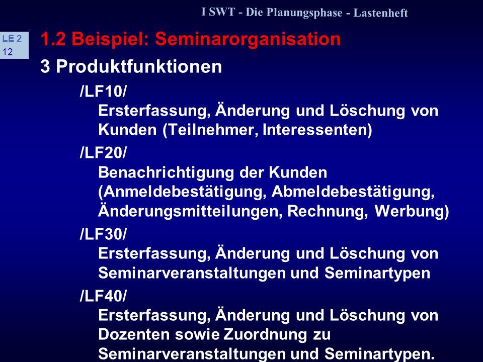 I SWT - Die Planungsphase - Lastenheft LE 2 11 1.2 Beispiel: Seminarorganisation 1 Zielbestimmung Die Firma Teachware soll durch das Produkt in die La