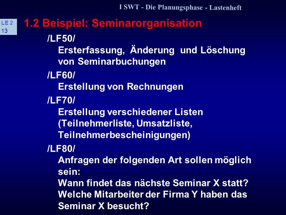 I SWT - Die Planungsphase - Lastenheft LE 2 12 1.2 Beispiel: Seminarorganisation 3 Produktfunktionen /LF10/ Ersterfassung, Änderung und Löschung von K