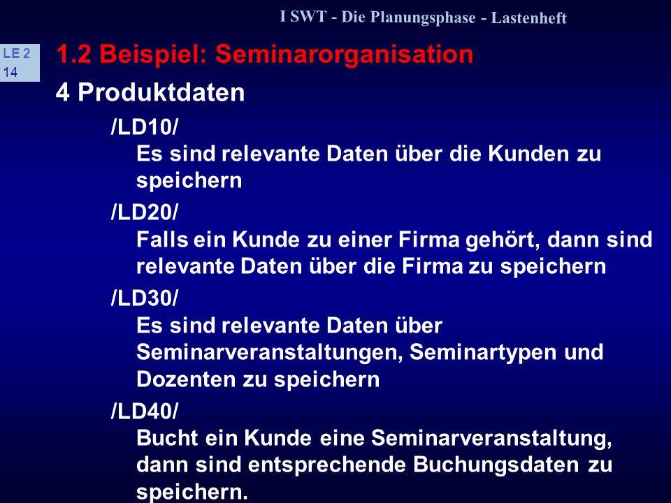 I SWT - Die Planungsphase - Lastenheft LE 2 13 1.2 Beispiel: Seminarorganisation /LF50/ Ersterfassung, Änderung und Löschung von Seminarbuchungen /LF6