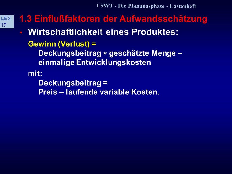 I SWT - Die Planungsphase - Lastenheft LE 2 16 1.2 Beispiel: Seminarorganisation 6 Qualitätsanforderungen Produktqualität sehr gutgut normal nicht rel