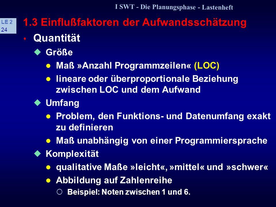 I SWT - Die Planungsphase - Lastenheft LE 2 23 Das »Teufelsquadrat«