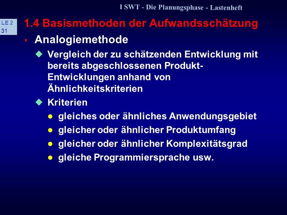 I SWT - Die Planungsphase - Lastenheft LE 2 30 SchätzmethodeJahr Methode EinsatzFaktoren SDC67PsP1 IBM-Handbuch68G, PD1, 4 SURBOCK78G, PP, D1, 2, 4 AR