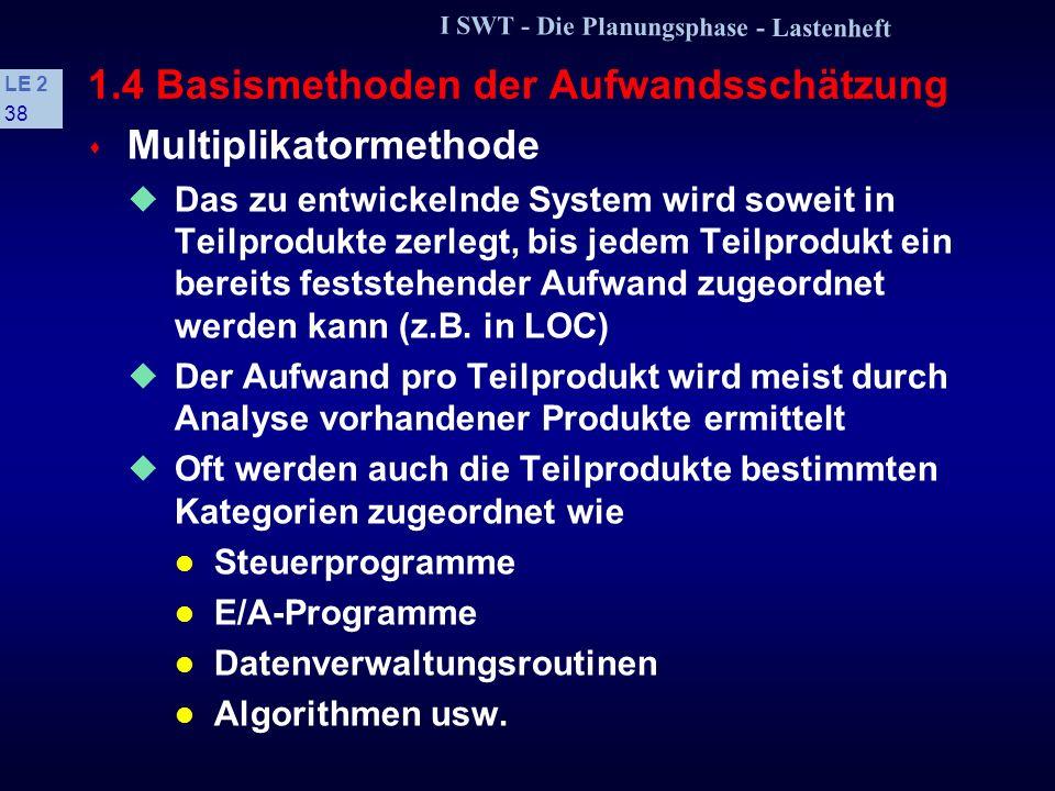 I SWT - Die Planungsphase - Lastenheft LE 2 37 1.4 Basismethoden der Aufwandsschätzung Zum Vergleich: Entwicklung... die im Assembler programmiert wur