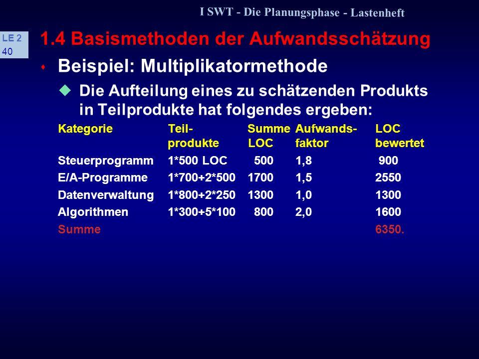 I SWT - Die Planungsphase - Lastenheft LE 2 39 1.4 Basismethoden der Aufwandsschätzung Die Anzahl der Teilprodukte, die einer Kategorie zugeordnet sin