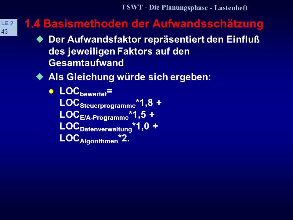 I SWT - Die Planungsphase - Lastenheft LE 2 42 1.4 Basismethoden der Aufwandsschätzung s Methode der parametrischen Gleichungen Durch Korrelationsanal