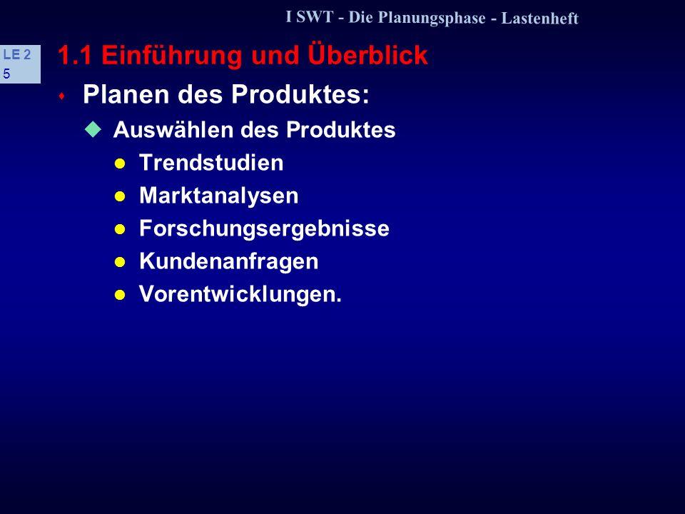 I SWT - Die Planungsphase - Lastenheft LE 2 4 Inhalt 1.1 Einführung und Überblick 1.2 Beispiel: Aufbau eines Lastenheftes 1.3 Einflußfaktoren der Aufw