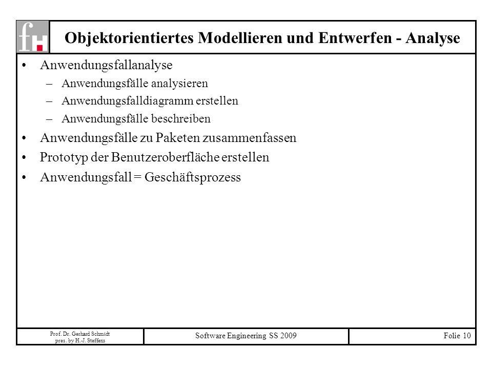 Prof. Dr. Gerhard Schmidt pres. by H.-J. Steffens Software Engineering SS 2009Folie 10 Objektorientiertes Modellieren und Entwerfen - Analyse Anwendun