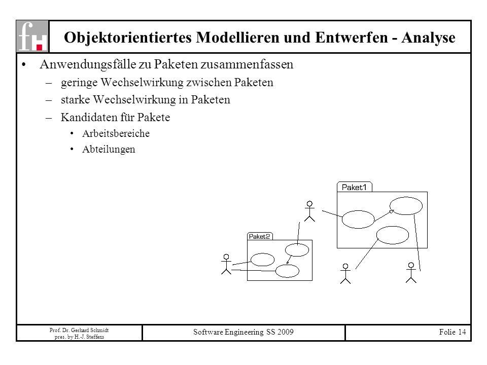 Prof. Dr. Gerhard Schmidt pres. by H.-J. Steffens Software Engineering SS 2009Folie 14 Objektorientiertes Modellieren und Entwerfen - Analyse Anwendun