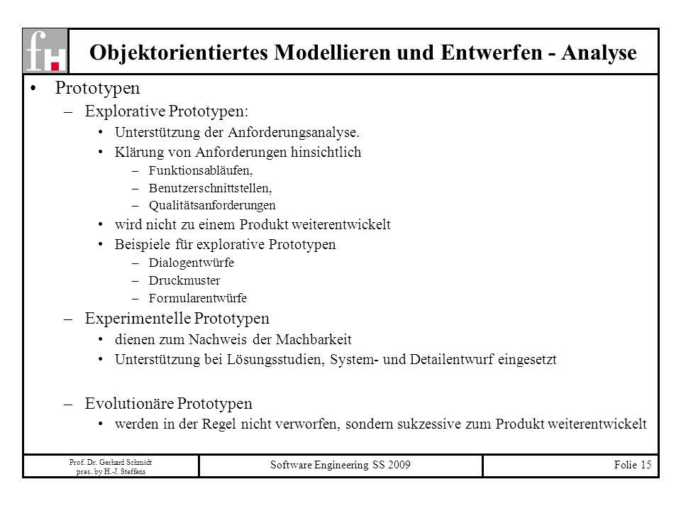 Prof. Dr. Gerhard Schmidt pres. by H.-J. Steffens Software Engineering SS 2009Folie 15 Objektorientiertes Modellieren und Entwerfen - Analyse Prototyp