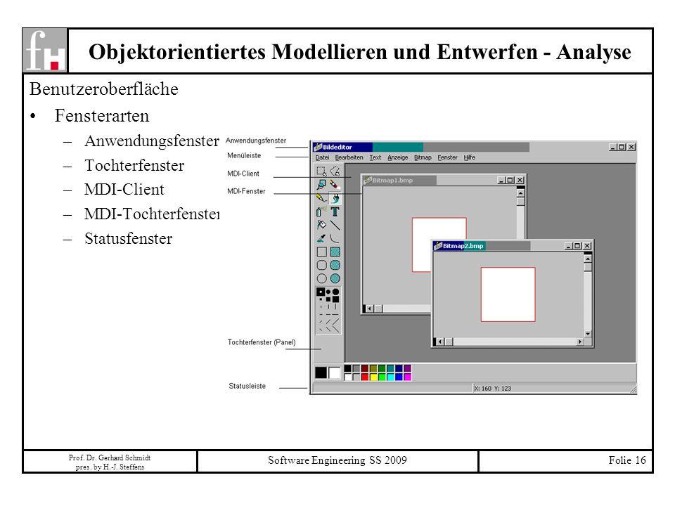 Prof. Dr. Gerhard Schmidt pres. by H.-J. Steffens Software Engineering SS 2009Folie 16 Objektorientiertes Modellieren und Entwerfen - Analyse Benutzer