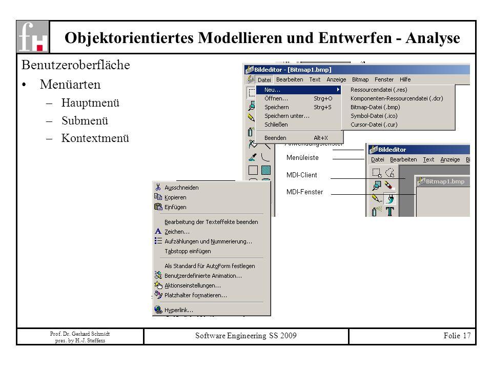 Prof. Dr. Gerhard Schmidt pres. by H.-J. Steffens Software Engineering SS 2009Folie 17 Objektorientiertes Modellieren und Entwerfen - Analyse Benutzer