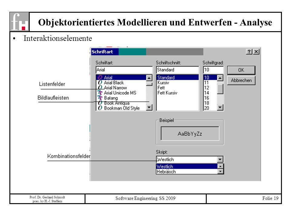Prof. Dr. Gerhard Schmidt pres. by H.-J. Steffens Software Engineering SS 2009Folie 19 Objektorientiertes Modellieren und Entwerfen - Analyse Interakt