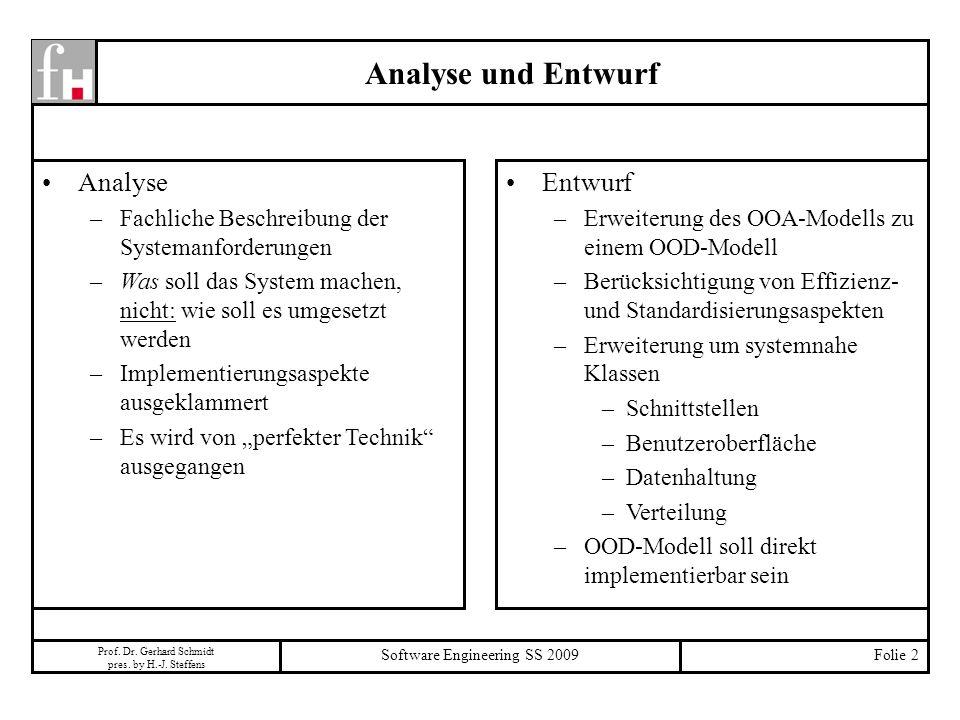 Prof. Dr. Gerhard Schmidt pres. by H.-J. Steffens Software Engineering SS 2009Folie 2 Analyse und Entwurf Analyse –Fachliche Beschreibung der Systeman
