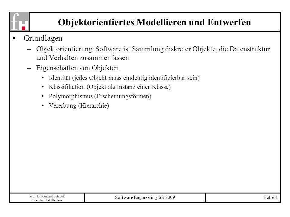 Prof. Dr. Gerhard Schmidt pres. by H.-J. Steffens Software Engineering SS 2009Folie 4 Objektorientiertes Modellieren und Entwerfen Grundlagen –Objekto
