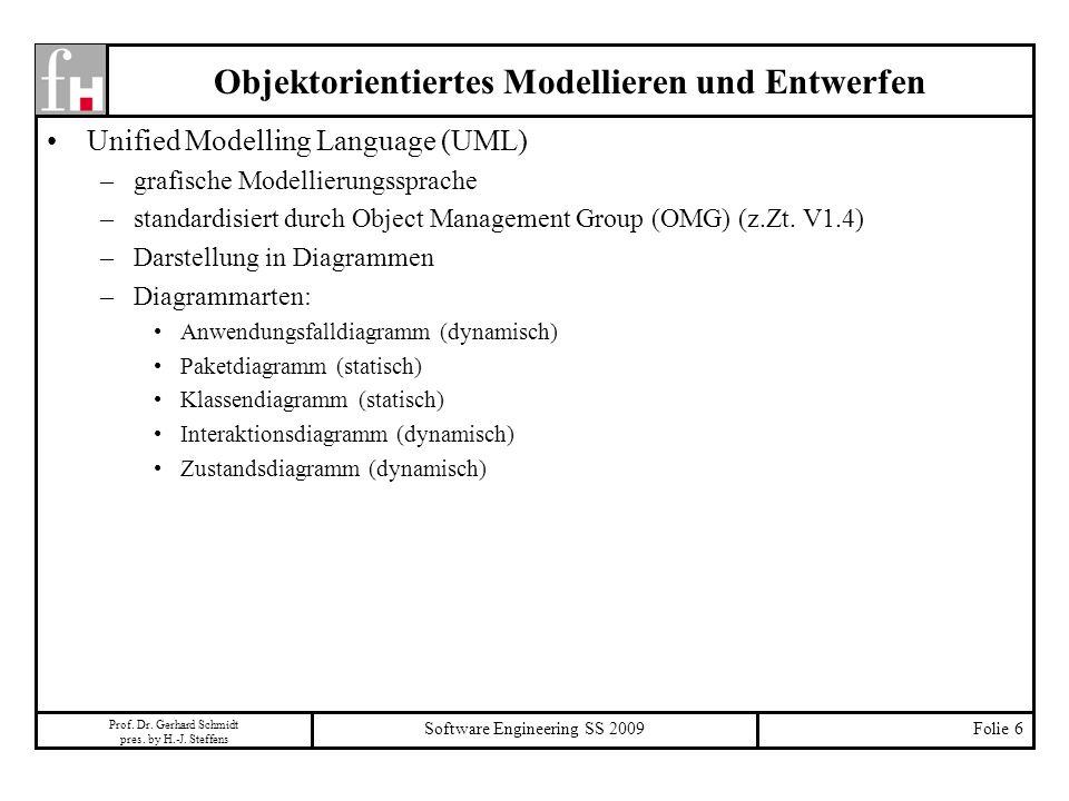 Prof. Dr. Gerhard Schmidt pres. by H.-J. Steffens Software Engineering SS 2009Folie 6 Objektorientiertes Modellieren und Entwerfen Unified Modelling L