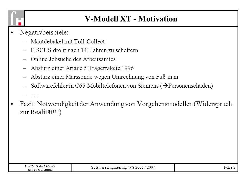 Prof. Dr. Gerhard Schmidt pres. by H.-J. Steffens Software Engineering WS 2006 / 2007Folie 2 Negativbeispiele: –Mautdebakel mit Toll-Collect –FISCUS d