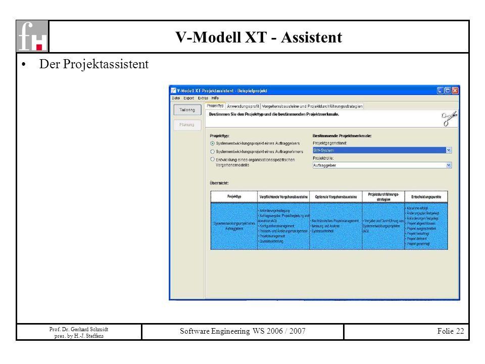 Prof. Dr. Gerhard Schmidt pres. by H.-J. Steffens Software Engineering WS 2006 / 2007Folie 22 V-Modell XT - Assistent Der Projektassistent