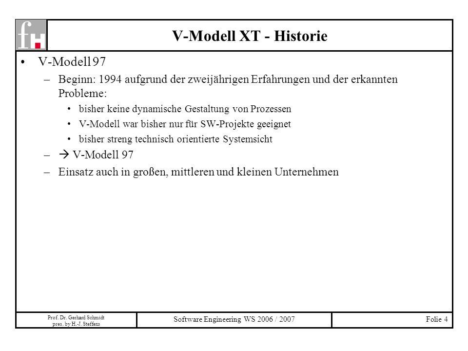 Prof. Dr. Gerhard Schmidt pres. by H.-J. Steffens Software Engineering WS 2006 / 2007Folie 4 V-Modell 97 –Beginn: 1994 aufgrund der zweijährigen Erfah