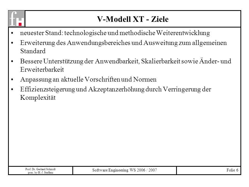 Prof. Dr. Gerhard Schmidt pres. by H.-J. Steffens Software Engineering WS 2006 / 2007Folie 6 neuester Stand: technologische und methodische Weiterentw