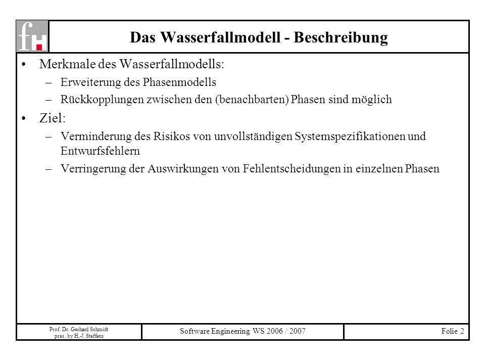 Prof. Dr. Gerhard Schmidt pres. by H,-J. Steffens Software Engineering WS 2006 / 2007Folie 2 Das Wasserfallmodell - Beschreibung Merkmale des Wasserfa
