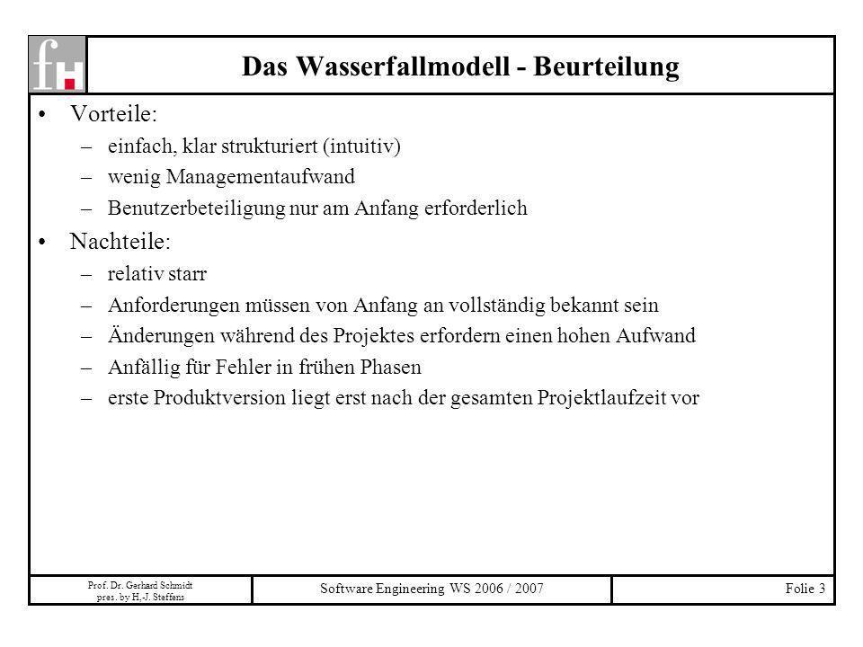 Prof. Dr. Gerhard Schmidt pres. by H,-J. Steffens Software Engineering WS 2006 / 2007Folie 3 Das Wasserfallmodell - Beurteilung Vorteile: –einfach, kl