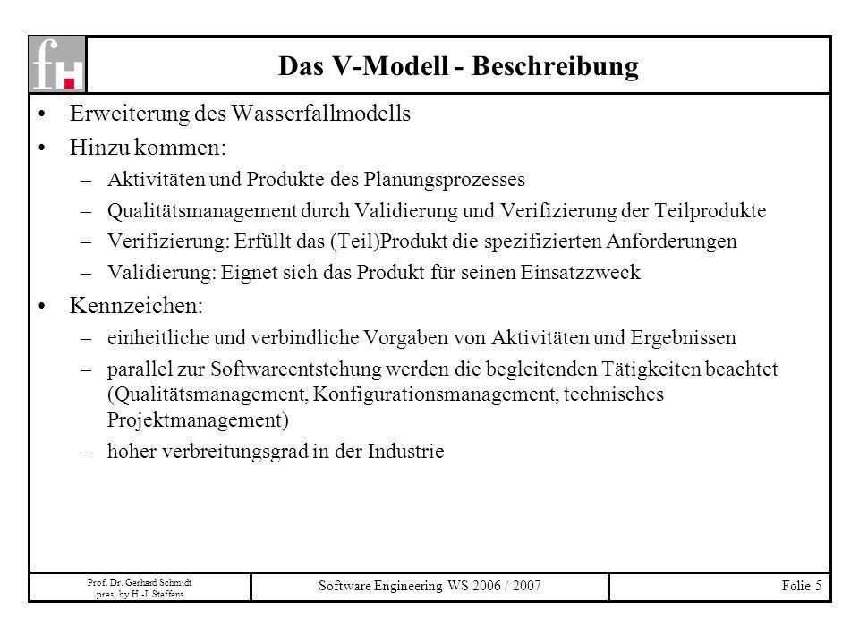 Prof. Dr. Gerhard Schmidt pres. by H,-J. Steffens Software Engineering WS 2006 / 2007Folie 5 Das V-Modell - Beschreibung Erweiterung des Wasserfallmod