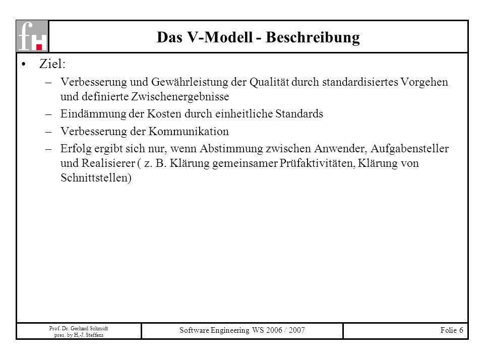 Prof. Dr. Gerhard Schmidt pres. by H,-J. Steffens Software Engineering WS 2006 / 2007Folie 6 Das V-Modell - Beschreibung Ziel: –Verbesserung und Gewäh