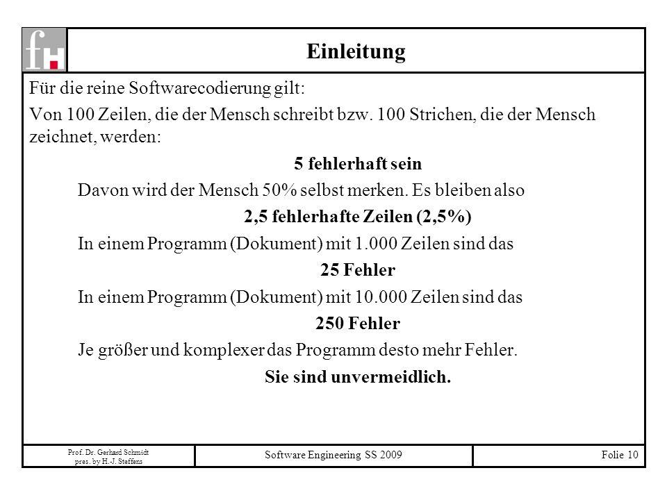 Prof. Dr. Gerhard Schmidt pres. by H.-J. Steffens Software Engineering SS 2009Folie 10 Für die reine Softwarecodierung gilt: Von 100 Zeilen, die der M