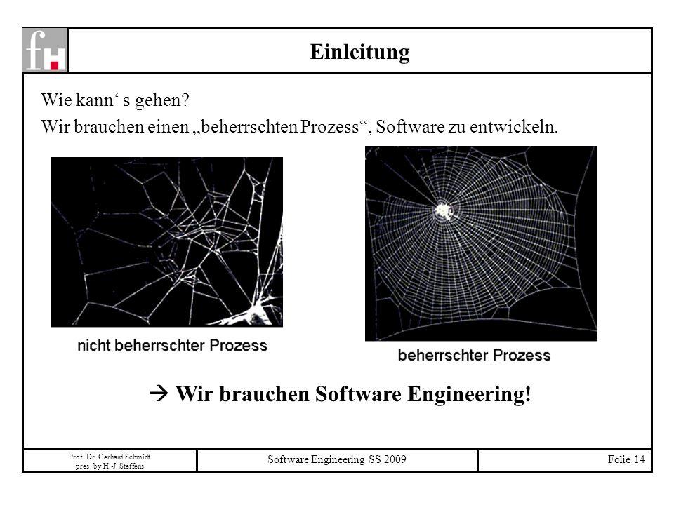 Prof. Dr. Gerhard Schmidt pres. by H.-J. Steffens Software Engineering SS 2009Folie 14 Einleitung Wie kann s gehen? Wir brauchen einen beherrschten Pr