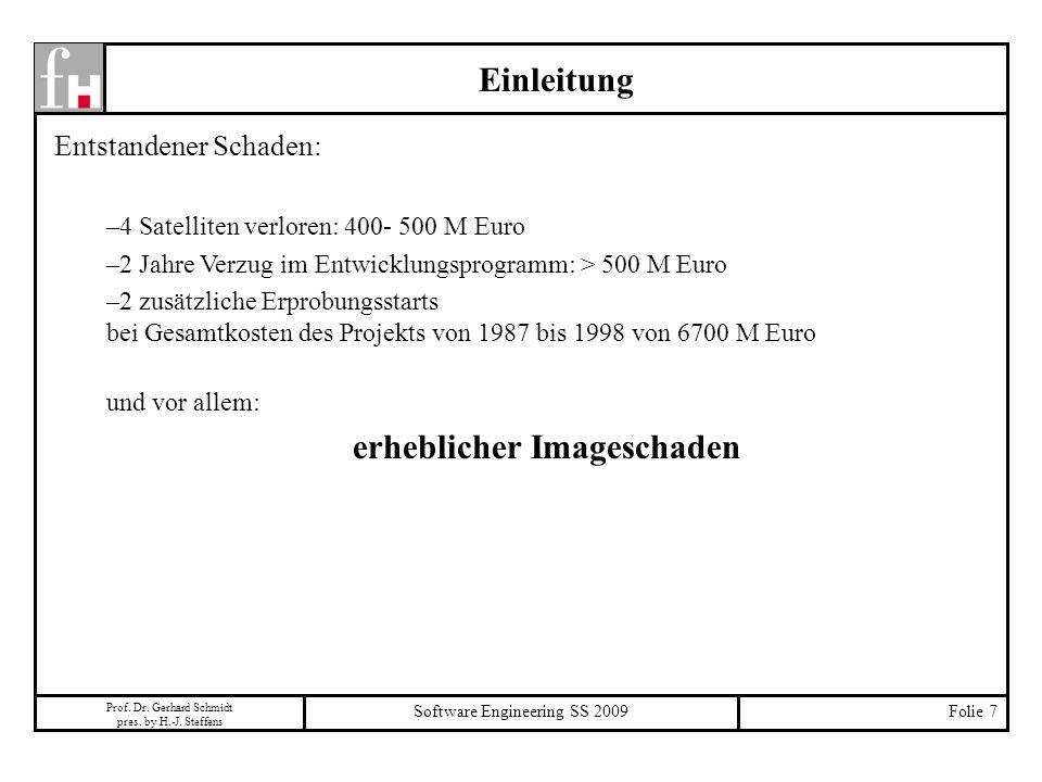 Prof. Dr. Gerhard Schmidt pres. by H.-J. Steffens Software Engineering SS 2009Folie 7 Einleitung Entstandener Schaden: –4 Satelliten verloren: 400- 50