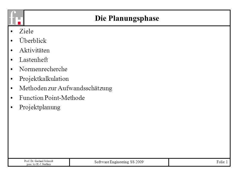 Prof. Dr. Gerhard Schmidt pres. by H.-J. Steffens Software Engineering SS 2009Folie 1 Die Planungsphase Ziele Überblick Aktivitäten Lastenheft Normenr
