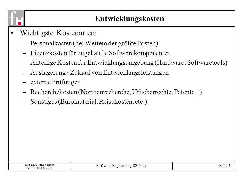 Prof. Dr. Gerhard Schmidt pres. by H.-J. Steffens Software Engineering SS 2009Folie 14 Entwicklungskosten Wichtigste Kostenarten: –Personalkosten (bei