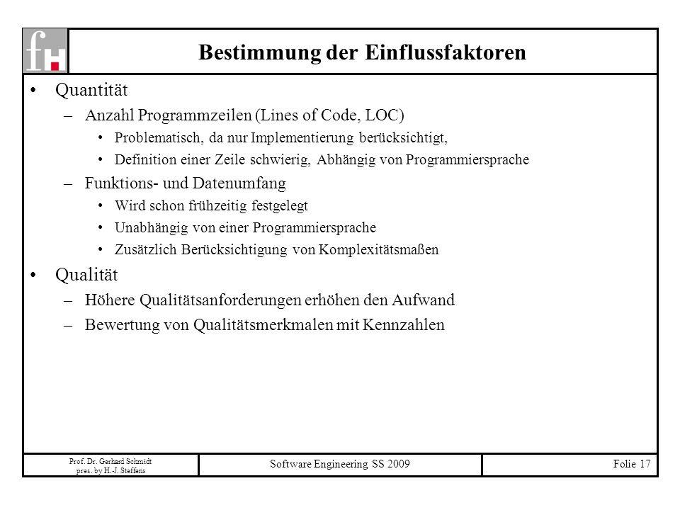 Prof. Dr. Gerhard Schmidt pres. by H.-J. Steffens Software Engineering SS 2009Folie 17 Bestimmung der Einflussfaktoren Quantität –Anzahl Programmzeile