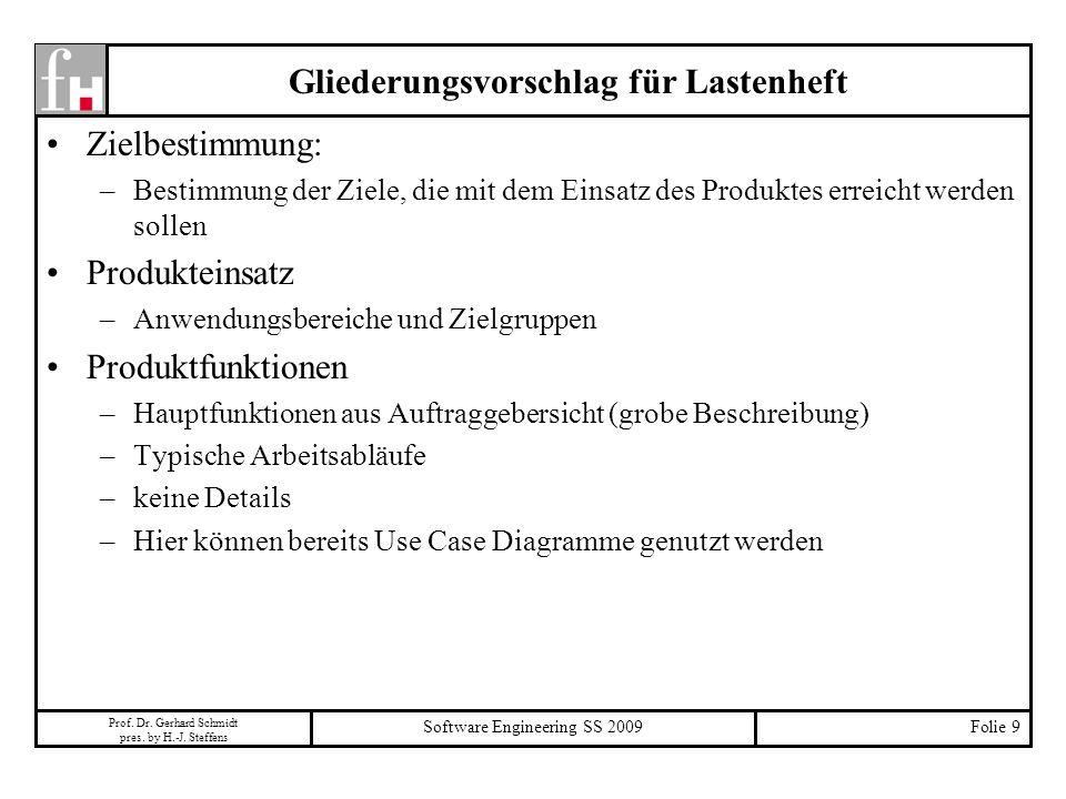 Prof. Dr. Gerhard Schmidt pres. by H.-J. Steffens Software Engineering SS 2009Folie 9 Gliederungsvorschlag für Lastenheft Zielbestimmung: –Bestimmung
