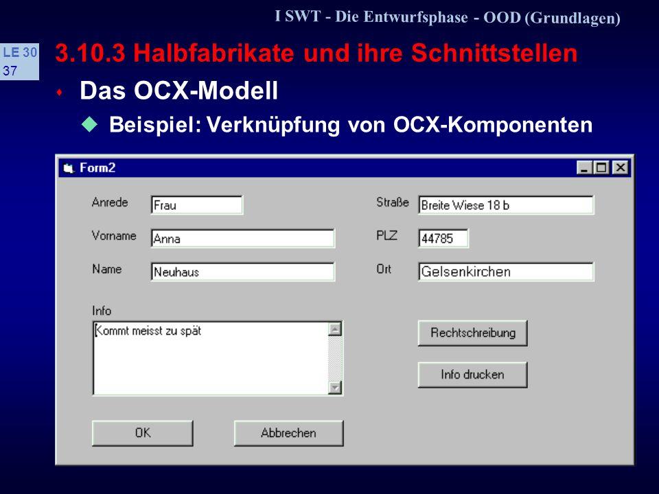 I SWT - Die Entwurfsphase - OOD (Grundlagen) LE 30 36 3.10.3 Halbfabrikate und ihre Schnittstellen s Das OCX-Modell VBX-Modell wird durch das OCX-Modell (OLE- control extensions) abgelöst Auf der Grundlage von OLE2 sind OCX auch auf Netze verteilbar, z.B.