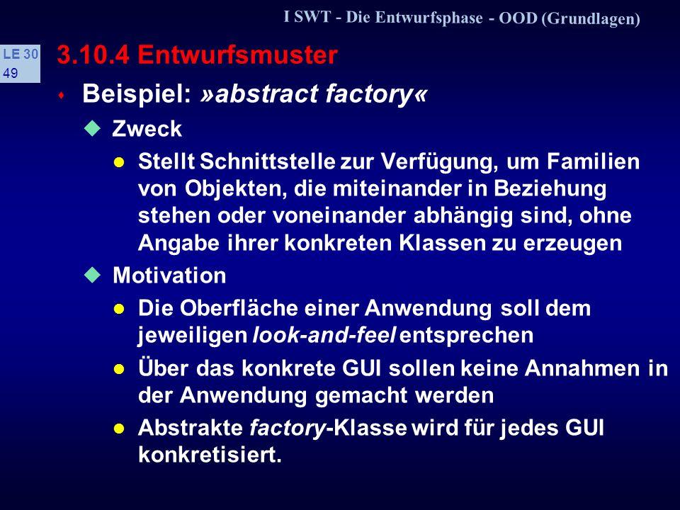 I SWT - Die Entwurfsphase - OOD (Grundlagen) LE 30 48 Beziehungen zwischen Entwurfsmustern
