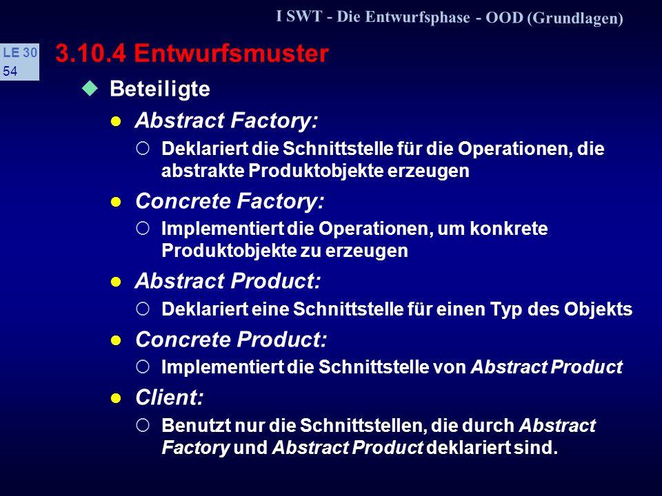 I SWT - Die Entwurfsphase - OOD (Grundlagen) LE 30 53 3.10.4 Entwurfsmuster s Beispiel: »abstract factory« Struktur