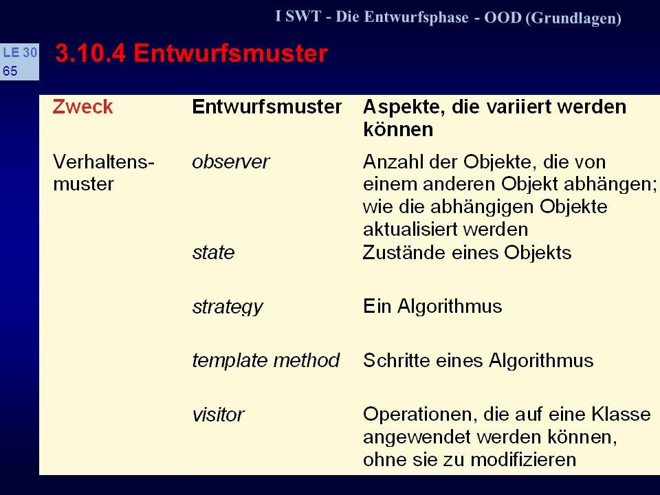 I SWT - Die Entwurfsphase - OOD (Grundlagen) LE 30 64 3.10.4 Entwurfsmuster