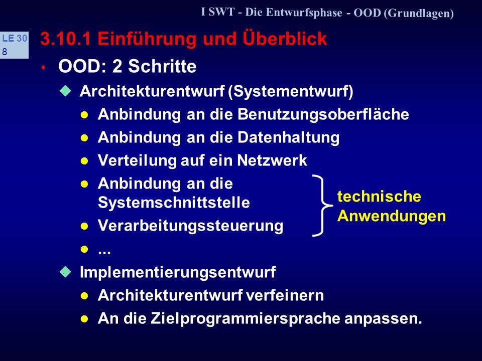 I SWT - Die Entwurfsphase - OOD (Grundlagen) LE 30 8 3.10.1 Einführung und Überblick s OOD: 2 Schritte Architekturentwurf (Systementwurf) Anbindung an die Benutzungsoberfläche Anbindung an die Datenhaltung Verteilung auf ein Netzwerk Anbindung an die Systemschnittstelle Verarbeitungssteuerung...